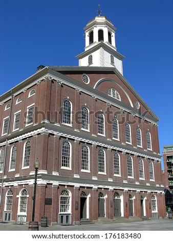 Historic Fanueil Hall, a market and meeting place, built in 1742. It was the site of many revolutionary meetings and speeches. - stock photo