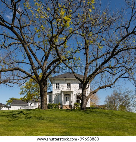 Historic farmhouse with tall, bare trees in rural Illinois - stock photo