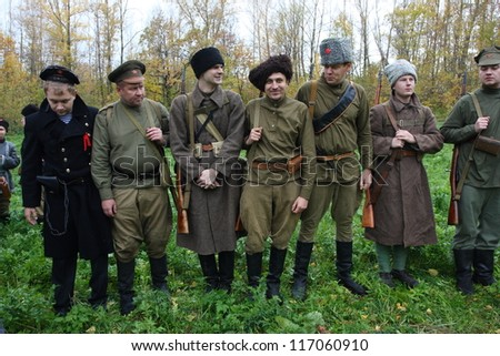 Historic festival devoted to the Russian Civil War (25 October 1917 - October 1922) in Krasnoglinsky City District of Samara (Russia) on October 6, 2012