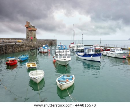 Historic fishing harbour at Lynmouth, Devon, England. Showing the Rhenish harbour Tower,