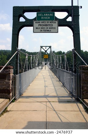 Historic Footbridge - Delaware River - stock photo