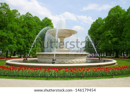 historic fountain in Saski park, Warsaw, Poland - stock photo
