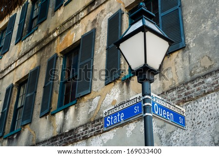 Historic French Quarter district in downtown Charleston, South Carolina. - stock photo