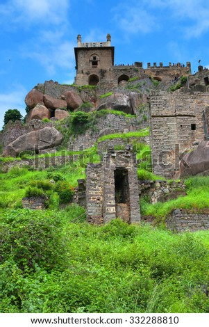 Historic Golkonda fort in Hyderabad, India - stock photo
