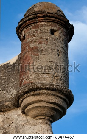 Historic gun tower of Castillo de San Marcos, fort in St. Augustine - stock photo