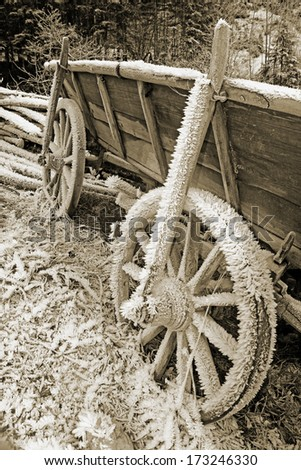 historic hay cart, covered with ice needles, in soft browns - stock photo