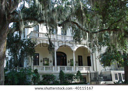 Historic home front porch in Savannah Georgia