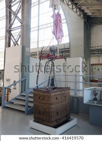 historic hot air balloon on display Royal Museum of the Armed Forces and Military History, Brussels, Belgium - stock photo
