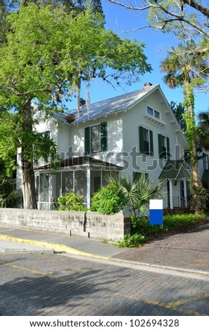 Historic house for sale at St. Augustine, Florida - stock photo