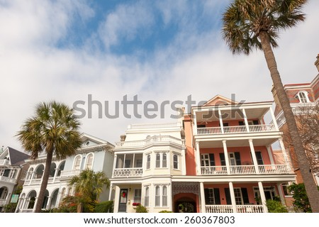 Historic houses along Battery st in Charleston, South Carolina