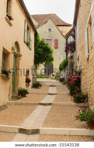 Historic houses and road, provence, france