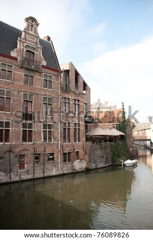 Historic houses near the waterfront in Ghent, a beautiful city in Belgium