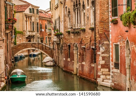 Historic houses of the Grand Canal in Venice - stock photo