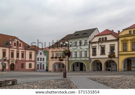 historic houses on main square in Kadan, Czech republic