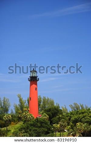 Historic Jupiter Inlet Lighthouse (1860) in Jupiter, Florida - stock photo