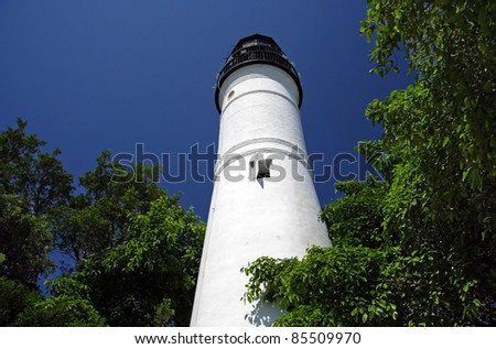 Historic Key West Lighthouse in the Florida Keys - stock photo