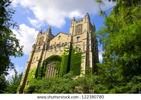 Historic library building in university of Michigan - stock photo