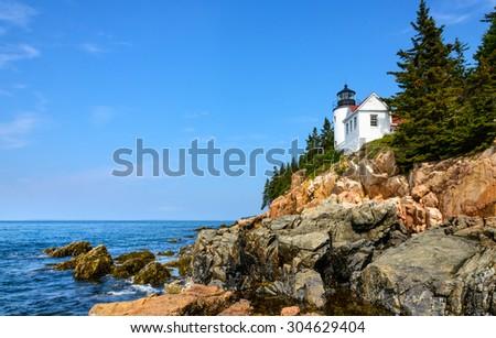 Historic Lighthouse, Acadia National Park - stock photo