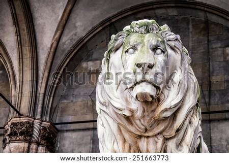 historic lion statue in munich - germany