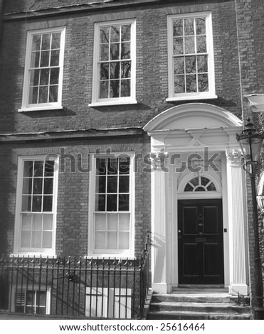 Historic london house in black and white