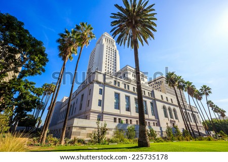 Historic Los Angeles City Hall with blue sky, CA USA - stock photo
