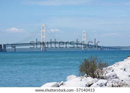 Historic Mackinac Bridge in Michigan - stock photo