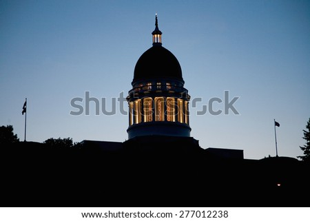 With deep blue sky augusta maine the state capital stock photo