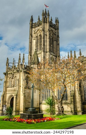 Historic Manchester Cathedral in Autumn - stock photo
