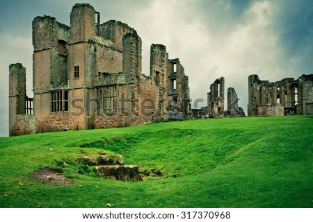 Historic medieval Kenilworth castle ruins in the United Kingdom with vintage style filter effect - stock photo