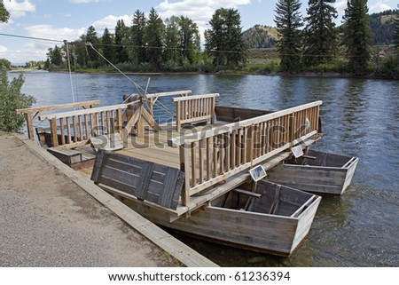 Historic Menor ferry used by early settlers to cross the Snake River.  Replica in Grand Teton National Park, Wyoming.