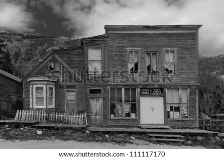 Historic Mining Town Buildings in Ghost Town of St. Elmo, Colorado, USA