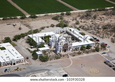 Historic Mission from above near Tucson, Arizona - stock photo