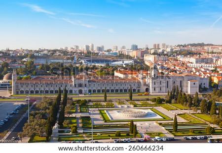 historic monastery Mosteiro dos Jeronimos of Lisbon in Portugal - stock photo