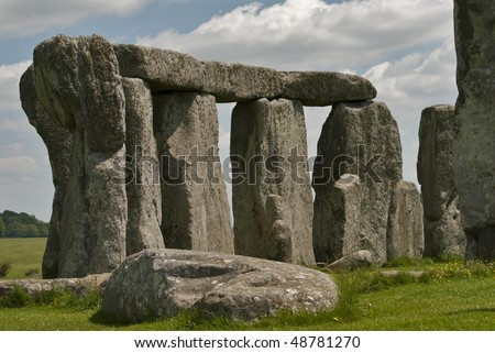 Historic monument Stonehenge on a sunny day - stock photo