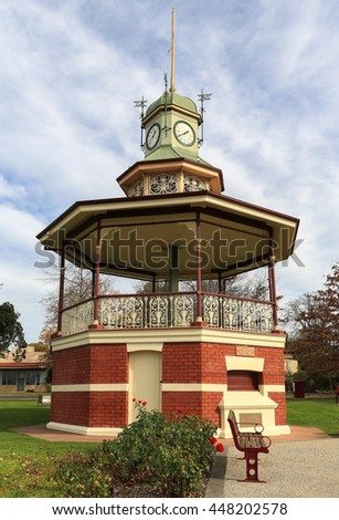 Historic octagonal band rotunda (built 1903) in Beaufort, Victoria, Australia; it is the only known example in Victoria of a band rotunda with a clock tower.