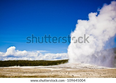 Historic Old Faithful Erupts