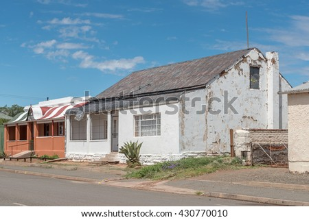 Historic old houses in Hofmeyer, a small town in the Eastern Cape Province, typical of the decline of rural areas