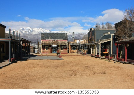 Historic old town buildings in Heber City, Utah, USA. - stock photo