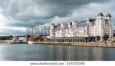 Historic old warehouse in Oslo harbor, Norway - stock photo
