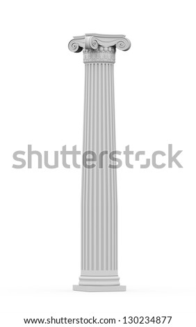 Historic ornamental column isolated on white background