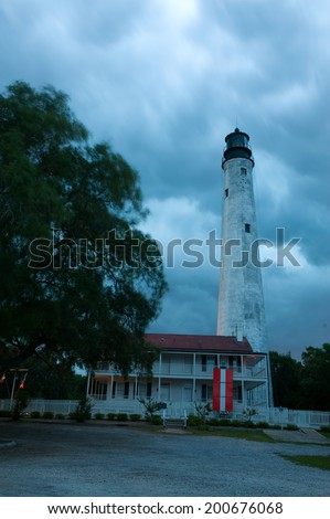 Historic Pensacola, Florida lighthouse. Established in 1824, it is the tallest and oldest lighthouse site on the Gulf Coast. Still in use after more than 150 years.