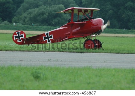 historic plane, red baron replica - stock photo