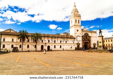 Historic Plaza de Santo Domingo in old town Quito Ecuador South America - stock photo