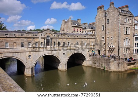 Historic Pulteney Bridge over the River Avon in Bath City in England