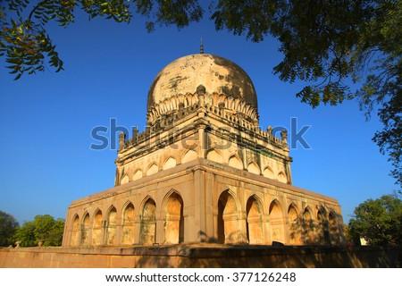 Historic Quli Qutbshahi tombs in Hyderabad, India - stock photo