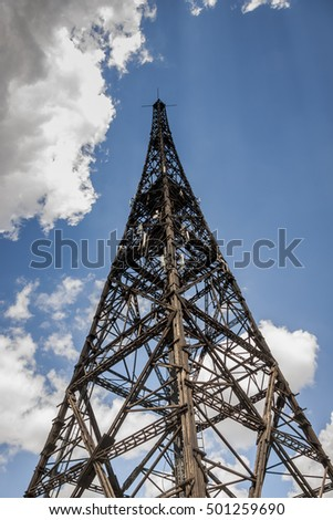 Historic radiostation tower in Gliwice, Poland (the highest wooden building on the world - 111m). The place of Nazi provocation on August 31, 1939.