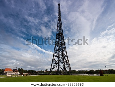 historic radiostation tower in Gliwice, Poland (the highest wooden building on the world - 111m) - stock photo