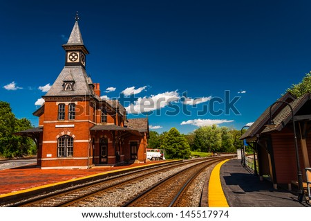 Historic railroad station,  along the train tracks in Point of Rocks, Maryland. - stock photo