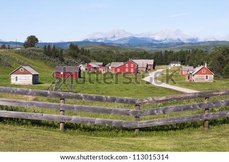 historic ranch in Alberta - stock photo