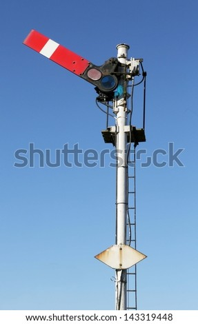 Historic red home British railway signal - stock photo